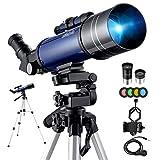 Telescopio Astronómico Kit Completo Pro 400/70 Potente Telescopios HD Portátil con Instrucción en Español para Niños y Adultos Principiantes