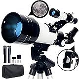 Upchase Telescopio Astronomico, 70/300/mm Refractor Telescopio, Portátil y Potente, Adaptador Móvil y Mochila, Ideal para Adultos, Principiantes, Observación de la Luna, Paisaje, Niños